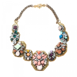 Shourouk Multicolor Crystal Embellished Gold Tone Collar Necklace
