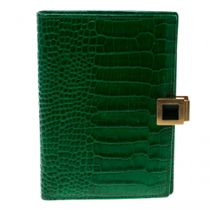 Smythson Green Croc Embossed Leather Mara Passport Cover