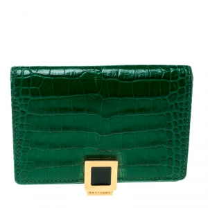 Smythson Green Croc Embossed Leather Card Holder