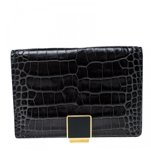 Smythson Dark Grey Croc Embossed Leather Card Holder