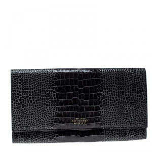 Smythson Dark Grey Croc Embossed Leather Travel Clutch