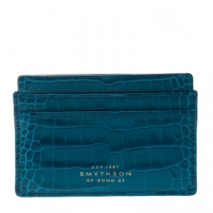 Smythson Blue Croc Embossed Leather Mara Card Holder