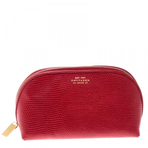 Smythson Red Embossed Leather Cosmetic Pouch