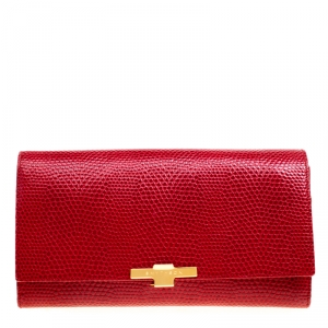 Smythson Red Lizard Embossed Leather Panama Marshall Travel Organizer