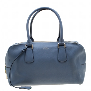 Smythson Light Blue Leather Satchel