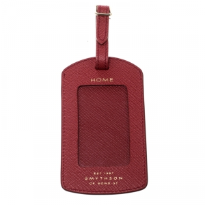 Smythson Red Leather Panama Luggage Tag