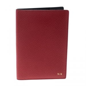 Smythson Red Leather Panama Passport Holder