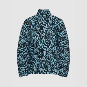 Solace London Blue Latia Animal Print High Neck Plisse Top UK 16
