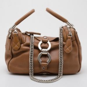 Sonia Rykiel Beige Leather Satchel with Chain Strap