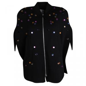 Sonia Rykiel Black Wool Zip Front Embellished Poncho Style Jacket S