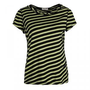 Sonia Rykiel Black and Yellow Striped Ruffle Detail Top M