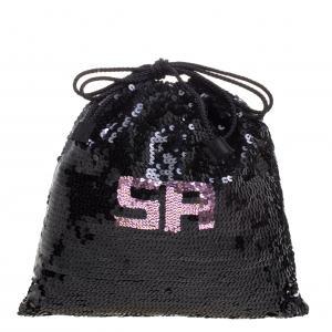 Sonia Rykiel Black Sequins Drawstring Bag