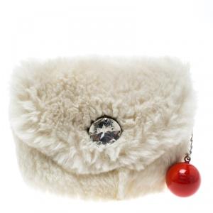 Sonia Rykiel Cream Rabbit Fur Crystal Embellished Clutch