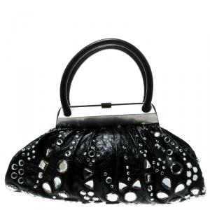 Sonia Rykiel Black Leather Studded Kisslock Frame Bag