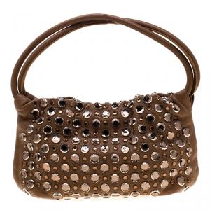 Sonia Rykiel Brown Leather Crystal Embellished Shoulder Bag