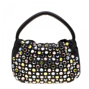 Sonia Rykiel Black Leather Colorful Crystal Embellished Shoulder Bag