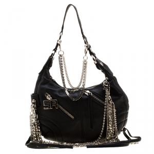 Sonia Rykiel Black Leather Multichain Embellished Small Shoulder Bag