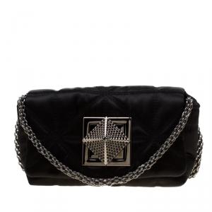 Sonia Rykiel Black Quilted Satin Le Copain Chain Crossbody Bag
