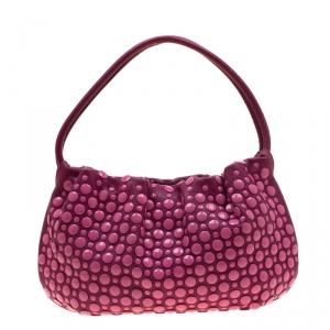 Sonia Rykiel Magenta Leather Domino Studded Shoulder Bag