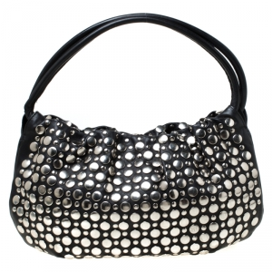 Sonia Rykiel Black Leather Domino Studded Shoulder Bag