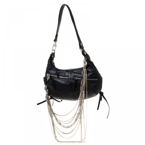Sonia Rykiel Black Leather Multichain Embellished Small Shoulder Bag