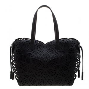 Sophia Webster Black Laser Cut Leather Liara Tote