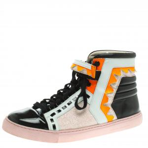 Sophia Webster Multicolor Leather and Glitter Riko High Top Sneakers Size 41