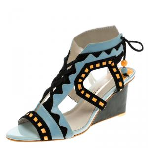 Sophia Webster Multicolor Leather And Suede Raya Wedge Sandals Size 40.5