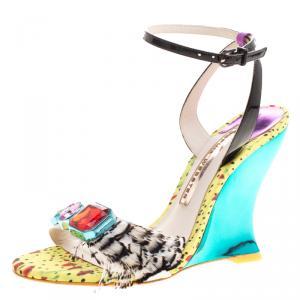 Sophia Webster Multicolor Leather Alyssa Feather Embellished Ankle Strap Wedge Sandals Size 36