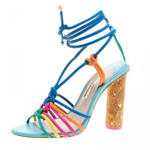 Sophia Webster Multicolor Leather Cord Copacabana Cork Heel Ankle Wrap Sandals Size 37