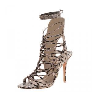 Sophia Webster Beige Leopard Print Leather Lacey Tie Up Sandals Size 36.5