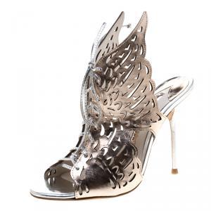 Sophia Webster Metallic Bronze Laser Cut Leather Cherub Winged Lace Up Peep Toe Mules Size 36