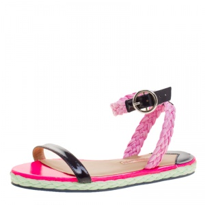 Sophia Webster Pink/Black Straw and Patent Leather Braided Ankle Strap Espadrilles Size 36