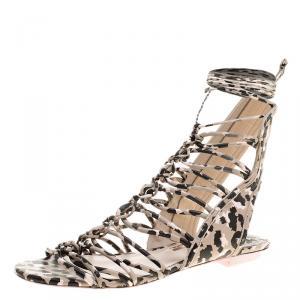 Sophia Webster Multicolor Camo Print Leather Gladiator Flat Sandals Size 36.5