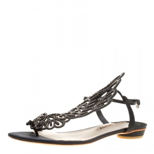 Sophia Webster Black Crystal Embellished Satin Seraphina Angel Wing Flats Size 41
