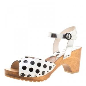 Sophia Webster Monochrome Polka Dot Leather Ava Ankle Strap Sandals Size 41