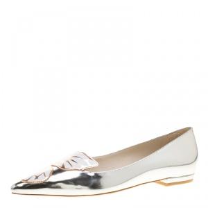 Sophia Webster Metallic Leather Bibi Butterfly Pointed Toe Ballet Flats Size 37