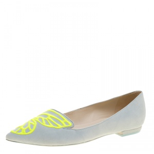Sophia Webster Light Blue Embroidered Suede Bibi Butterfly Pointed Toe Ballet Flats Size 37