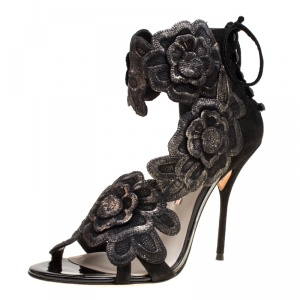 Sophia Webster Black Suede Winona Floral Embroidered Ankle Cuff Sandals Size 41