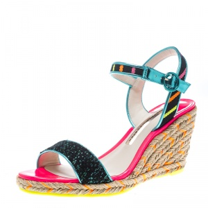 Sophia Webster Multicolor Stripe Canvas Lucita Espadrille Wedge Sandals Size 38.5