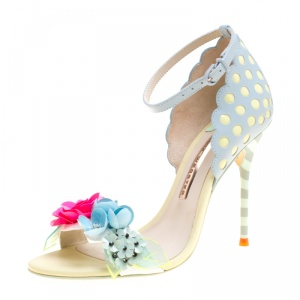 Sophia Webster Multicolor Leather Lilico Sequin Flower Embellished Ankle Strap Open Toe Sandals Size 36.5