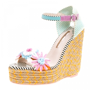 Sophia Webster Multicolor Leather Lucita Flower Embellished Espadrille Wedge Sandals Size 39