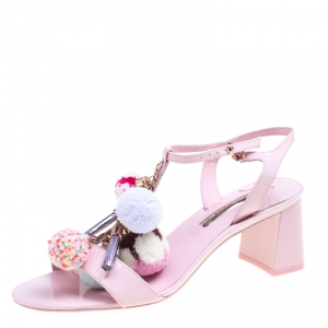 Sophia Webster Light Pink Patent Leather Jada T Strap Pom Pom Sandals Size 39