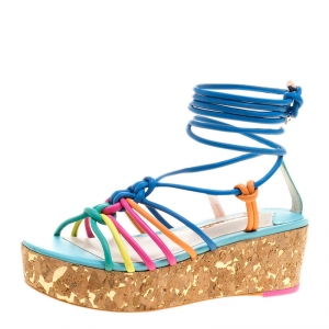 Sophia Webster Multicolor Leather Cord Copacabana Cork Platform Ankle Wrap Sandals Size 38.5