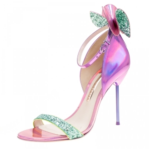 Sophia Webster Metallic Iridescent Pink Leather Maya Crystal Embellished Bow Ankle Strap Sandals Size 39.5