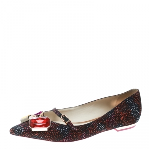 Sophia Webster Multicolor Satin Jewel Embellished Piper Gem Pointed Toe Flats Size 38
