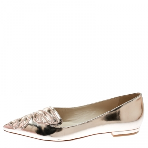 Sophia Webster Metallic Rose Gold Leather Bibi Butterfly Pointed Toe Ballet Flats Size 40.5