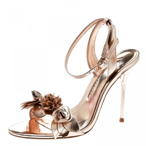 Sophia Webster Metallic Rose Gold Leather Lilico Floral Embellished Ankle Wrap Sandals Size 36