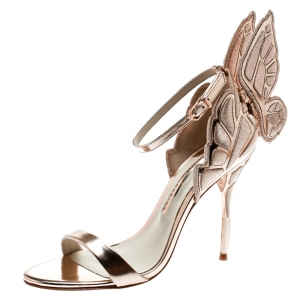 Sophia Webster Metallic Rose Gold Leather Chiara Butterfly Ankle Strap Sandals Size 37.5