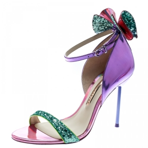 Sophia Webster Multicolor Holographic Leather Maya Glitter Bow Ankle Strap Sandals Size 38.5